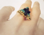 Leopard Print and Turquoise Triangle Ring.