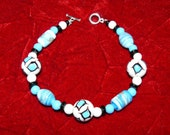 Blue/Black/White Large Glass Bead bracelets