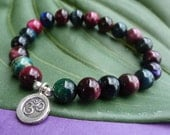Colorful Tiger Eye Bracelet with Fine Silver OM Charm
