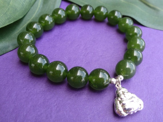 Green Jade Bracelet for Luck  with Smiling Buddha Charm