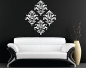Set of 4 damask vinyl wall art decal stickers