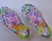 """Crocheted """"Fancy Flops""""  with beads. Summer colors.   No more plastic sticking to your feet on a hot summer day."""