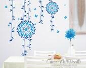 blue floral wall decals tree vinyl wall decalsbutterfly children wall decals nursery wall art wedding - Vine butterfly flowerl Z108A cuma