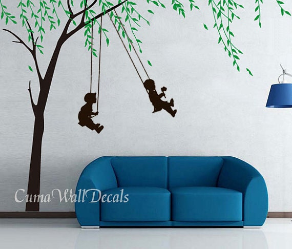 children wall decals playing swing boy girl wall sticker ...