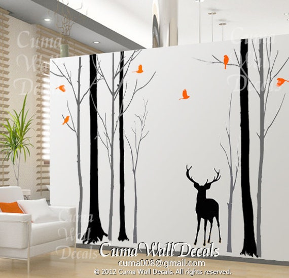 Tree wall decal nursery birds wall sticke animal wall by cuma for Deer wall mural