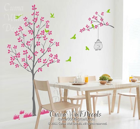 Pink Wall Decals 28+ [ pink tree wall sticker ] | large pink flower tree birds wall