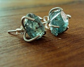 Blue Zircon Earrings, Rough Gemstones and Sterling Silver