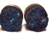Blue Drusy / Druzy Earrings, Sterling Silver