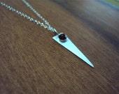 Dagger Pendant Necklace, Garnet, Brushed Sterling Silver