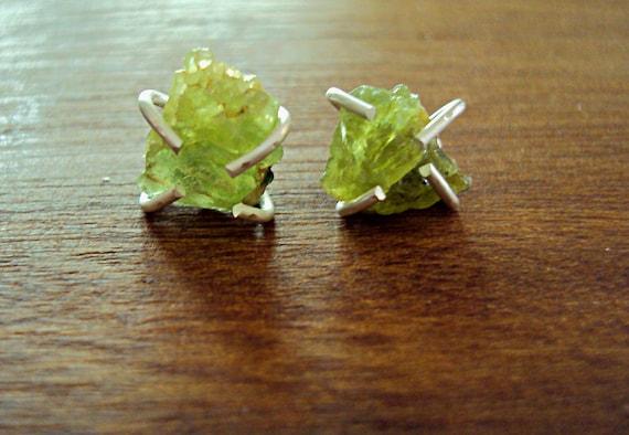 Peridot Earrings, Rough Gemstones and Sterling Silver