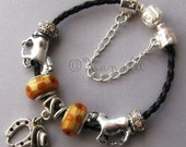Black Brown All The Pretty Horses Leather European Charm Bracelet Cowboy Hat And Horseshoe Charm