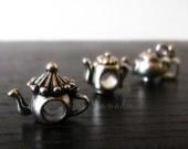 3PCs Teapot Beads And Charm Set - Tea Related Large Hole Beads For All European Charm Bracelets