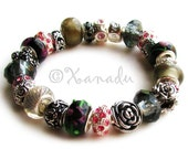 Black Pink Meet Me In The Garden At Midnight European Charm Bracelet With Silver Flower Charm Beads