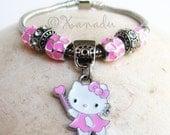 Pink Kitty Cat European Charm Bracelet - Kids Sizes Available