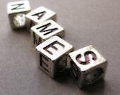 7PCs Name Charm Beads For European Bracelets Or Necklaces - Silver Alphabet Letter Cubes For European Charm Bracelets