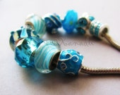 10PCs Turquoise Lampwork Glass And Crystal Beads Wholesale Mix - Premium Large Hole Beads Collection For All European Style Charm Bracelets