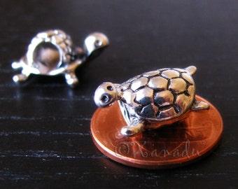 Turtle European Charms - 2PCs Large Hole Tortoise Beads For All European Charm Bracelets