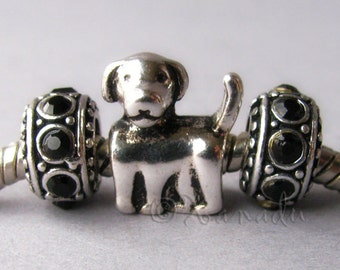 Labrador Puppy Dog Charm And Black Spacer Beads For European Charm Bracelets - Gift For Dog Owners