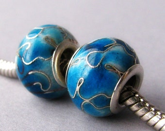 2PCs Turquoise Blue Cloisonne European Style Beads - Fits All European Charm Bracelet And Necklace Chains