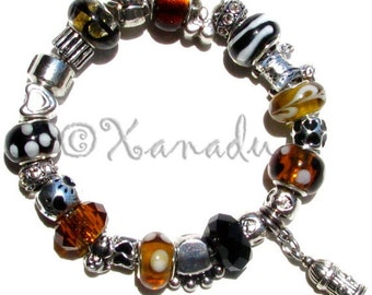 Black Brown Dog Lovers European Charm Bracelet With Dog Charm Beads