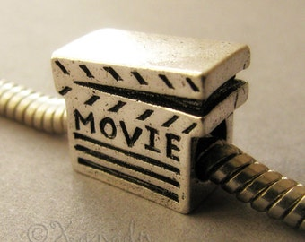 Movie Clapper, Movie Buff Charm Bead - Large Hole Bead Fits All European Charm Bracelets