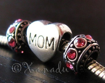 Mom Gift Idea - MOM Heart Shaped European Bead And Birthstone Spacers For European Charm Bracelets