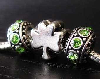 Lucky Clover Bead And Green Crystal Spacer Beads For European Charm Bracelets