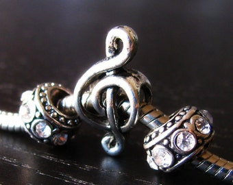 Music Clef Note Charm And Crystal Birthstone Spacers For All European Charm Bracelets