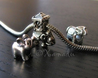 3PCs Lucky Elephant Charms Set For European Charm Bracelets - Lucky Elephant With Trunks Up