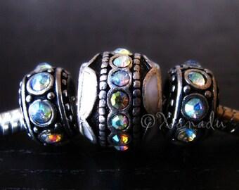 3PCs Aurora Borealis, AB Finish European Style Bead Set - Crystal Beads Fit European Charm Bracelets