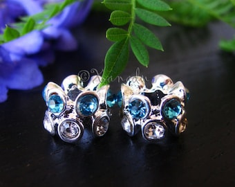 2PCs Turquoise, Aquamarine Colored Crystal Spacers - Large Hole Beads For European Charm Bracelets - March Birthstone