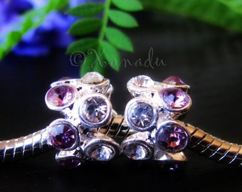 2PCs Amethyst Purple Crystal Beads - February Birthstones - Large Hole Beads For European Charm Bracelets
