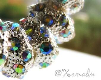 2PCs Aurora Borealis, AB Finish European Style Beads - Crystal Spacer Fits European Charm Bracelets