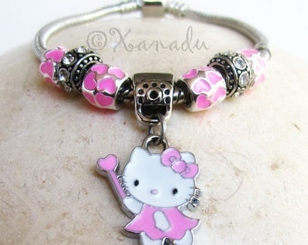 Pink Kitty Cat European Charm Bracelet - Kids Sizes Available