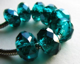 2PCs Saturated Teal Tahitian Waters Swarvoski Style Crystal Beads  - Fits European Charm Bracelets