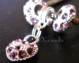 Amethyst Purple Heart Charm Beads - Feburary Birthstone For All European Charm Bracelets