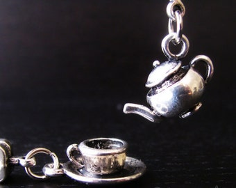 2PCs Silver Teapot And Teacup Charms Set - Tea Themed Large Hole Beads For All European Charm Bracelets