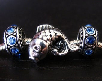 Asian Koi Fish European Style Bead with Birthstone Crystal Spacers - Large Hole Beads Fits All European Charm Bracelets