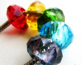 5PCs Wholesale Assorted Rainbow Color Swarvoski Style Crystal Beads - Large Hole Beads For All European Style Charm Bracelets