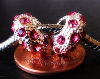 2PCs Hot Pink, Fuchsia, Magenta Rhinestone Large Hole Beads - Fits European Charm Bracelets
