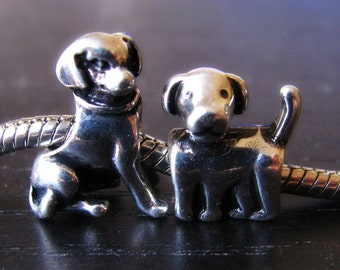 2PC Puppy Dogs European Style Charm Set - Large Hole Beads For All European Charm Bracelets - Gifts For Dog Owners