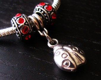 Ladybug Charm And Crystal Birthstone Spacers - For All European Charm Bracelets