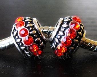 2PCs Ruby Red, Garnet Red Crystal Birthstone Beads - January, July Birthstone - Fits European Charm Bracelets