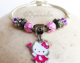 Pink And Purple Kitty Cat European Charm Bracelet - Kids Sizes Available - Gift Idea For Little Girls