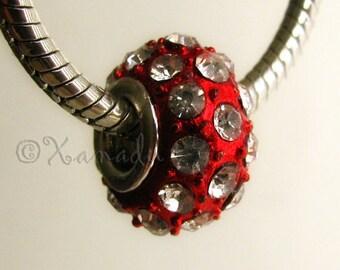 Red Crystal European Style Crystal Bead - Large Hole Bead Fits All European Charm Bracelets