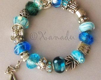 Turquoise, Teal, Blue Tahitian Beach Vacation European Charm Bracelet With Beach Charms