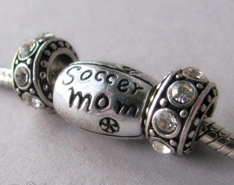 Soccer Mom Bead And Birthstone Crystal Spacers - For All All European Charm Bracelets - Gift Idea For Mom