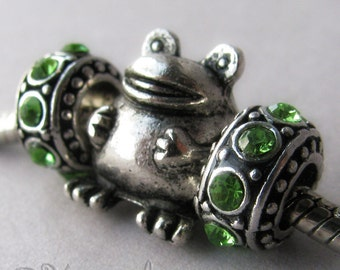 Chubby Frog Charm And Green Birthstone Spacer Beads - Large Hole Beads For European Charm Bracelets