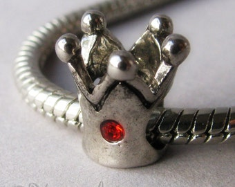 Princess Or Queen Crown Charm With Ruby Red Crystal Accents For European Charm Bracelets