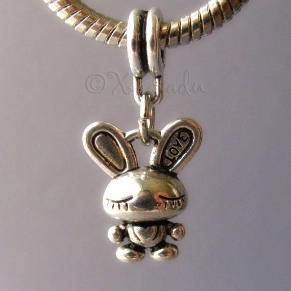 Adorable 3D Love Bunny Rabbit Dangling Charm - Large Hole Fits All European Charm Bracelets - Great For Easter